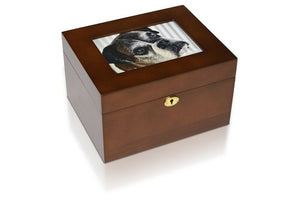 "5""x 7"" Wood Photo Memory Cremation Urn Box for Ashes w/ Walnut Stain"