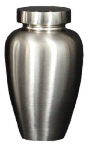 Small/Keepsake 38 Cubic Inch Brushed Nickel Spartan Funeral Cremation Urn