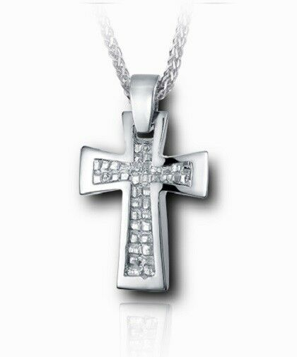 Sterling Silver Nugget Cross Funeral Cremation Urn Pendant for Ashes with Chain