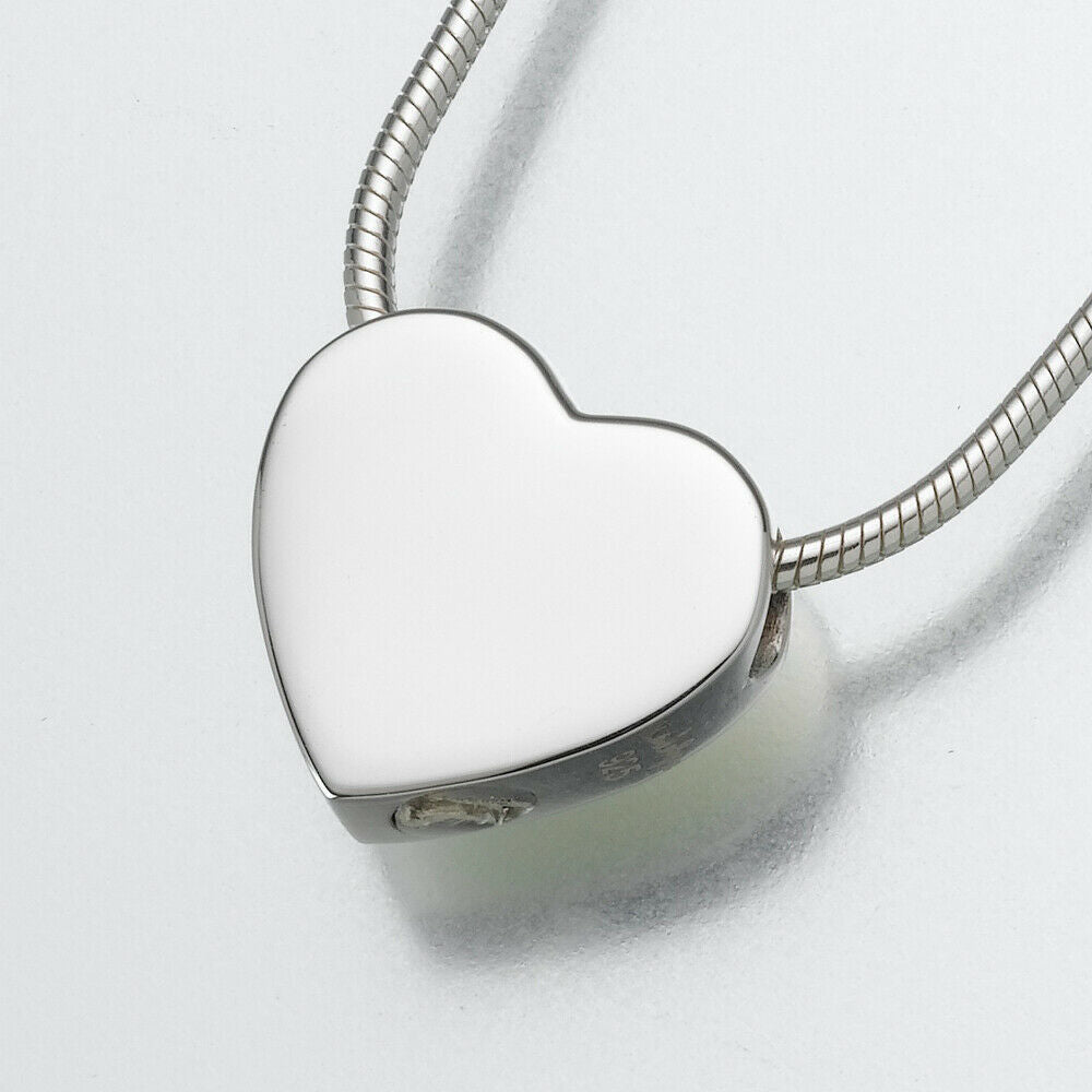 Sterling Silver Small Slide Heart Memorial Jewelry Pendant Funeral Cremation Urn