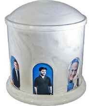 Large 270 Cubic Inch White Multi-Photo Cultured Marble Cremation Urn for Ashes