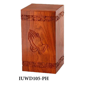Large/Adult 200 Cubic Inch Rosewood Praying Hands Tower Funeral Cremation Urn