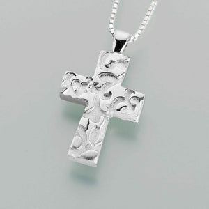 Pewter Cross with Filigree Memorial Jewelry Pendant Funeral Cremation Urn