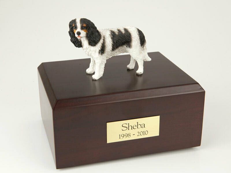 King Charles Spaniel, Black Pet Cremation Urn Available 3 Diff. Colors & 4 Sizes
