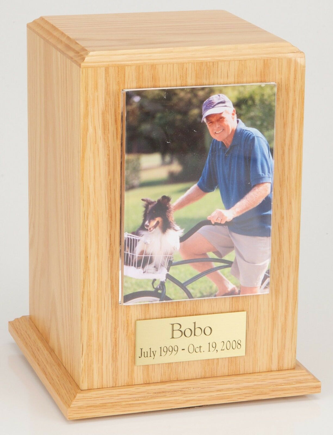 Large 110 Cubic Ins Oak Pet Tower Photo Urn for Ashes w/Engravable Nameplate