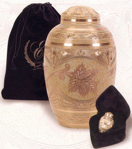 Set of Adult (202 cubic inch) & Keepsake (3 inch) Brass Funeral Cremation Urns