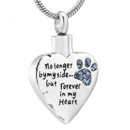 Stainless Steel Blue Paw Print Funeral Cremation Urn Pendant for Ashes w/Chain