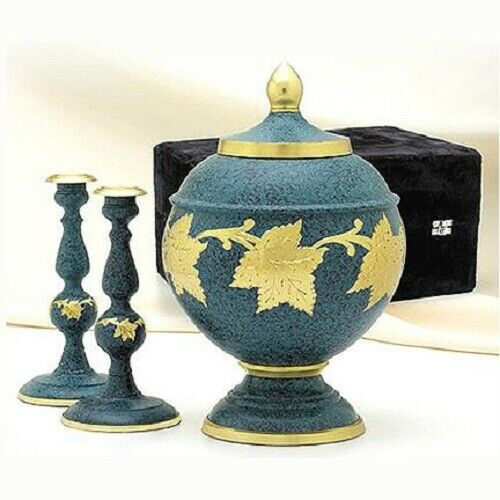 Large/Adult 205 Cubic Inch Brass Patina Color Cremation Urn Set w. Candlesticks