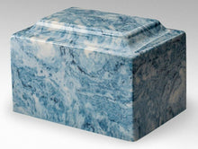 Load image into Gallery viewer, Classic Cultured Marble Blue & White 25 Cubic Inches Cremation Urn, TSA Approved