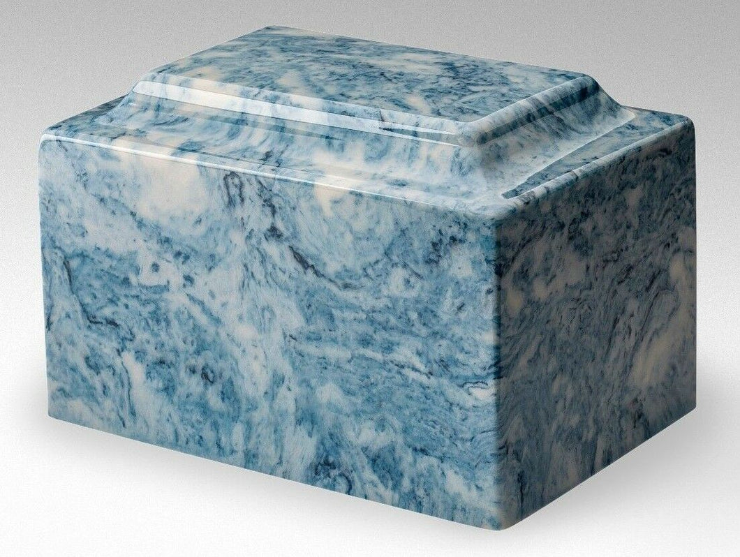 Classic Cultured Marble Blue & White 25 Cubic Inches Cremation Urn, TSA Approved