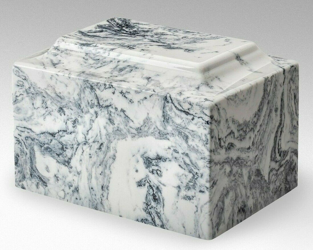 Classic Marble White & Black Adult 210 Cubic Inchs Cremation Urn, TSA Approved
