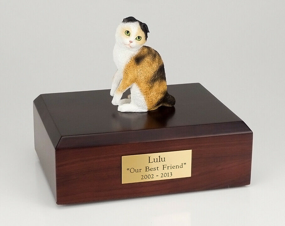 Scottish Fold White Cat Figurine Pet Cremation Urn Avail 3 Diff Colors & 4 Sizes