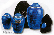 "Load image into Gallery viewer, Blue Cobalt Alloy Infant/Child/Pet 6"" Size Funeral Cremation Urn w. Velvet Pouch"