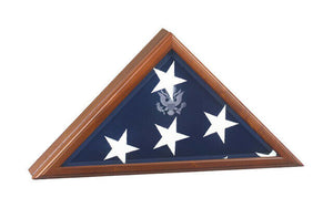 Walnut Presidential Flag Case for 5'X9.5' Flag,w/Great Seal, Cremation Urn Avail