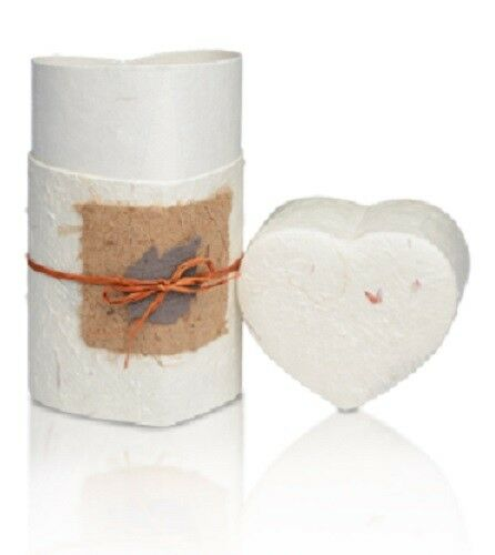 Small/Keepsake 20 Cubic Inch White Heart Biodegradable Paper Cremation Urn