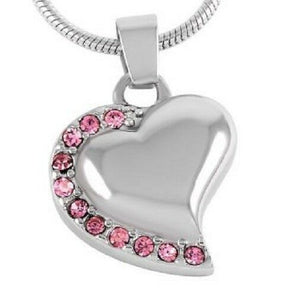 Stainless Steel Heart w/Pink Stones Funeral Cremation Urn Pendant with Chain
