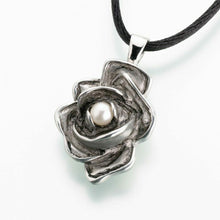 Load image into Gallery viewer, Antique Sterling Silver Pewter Rose Jewelry Pendant Funeral Cremation Urn