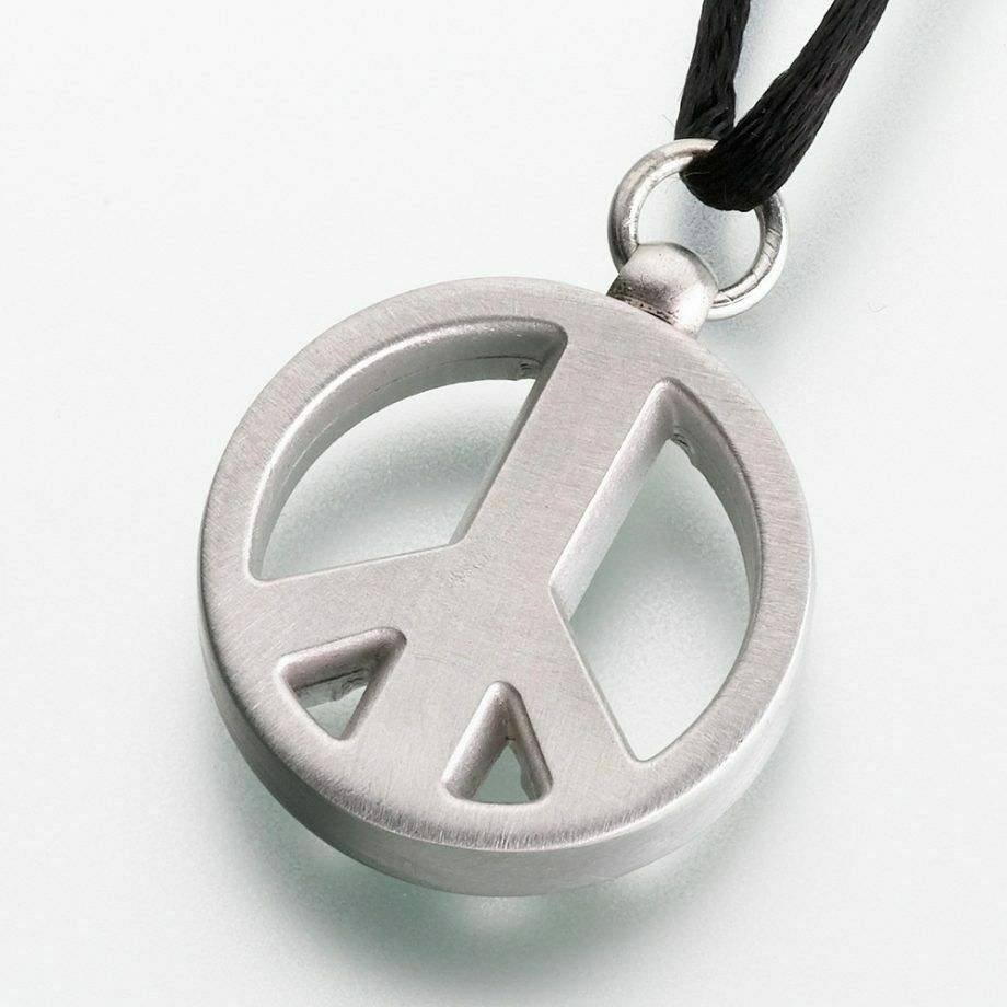 Pewter Peace Sign Memorial Jewelry Pendant Funeral Cremation Urn