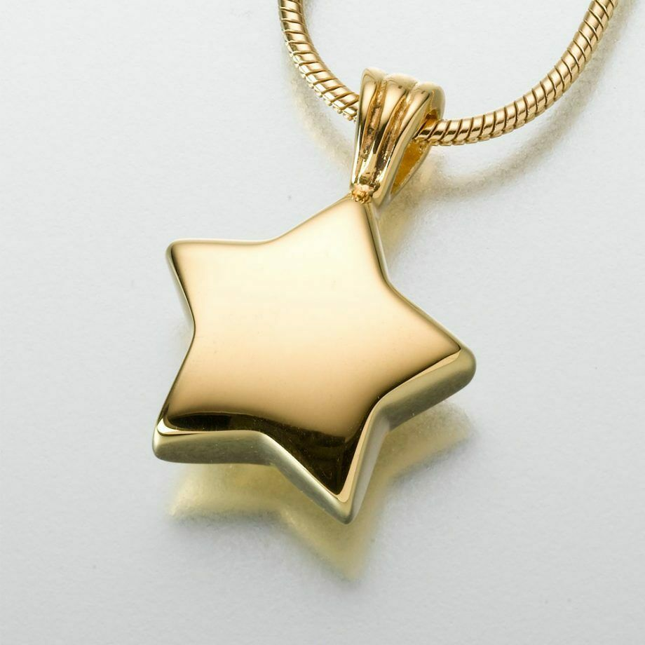 Gold Vermeil Star Memorial Jewelry Pendant Funeral Cremation Urn