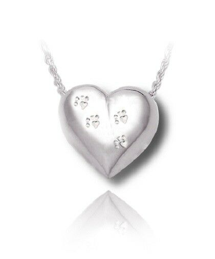 Sterling Silver Pet Heart Cremation Urn Pendant for Ashes w/Chain
