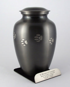 125 Cubic Ins Brushed Nickel Brass Pawprint Pet Cremation Urn with Engraved Base