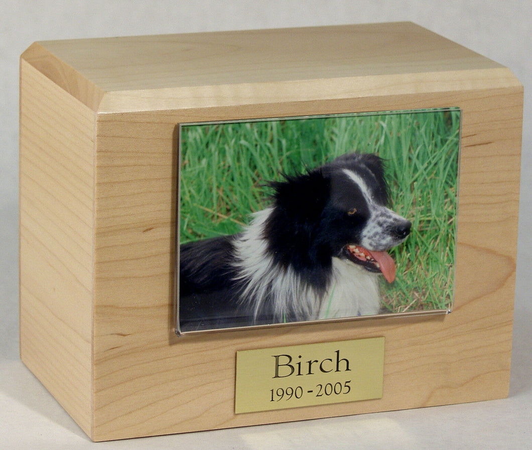 X-Large 145 Cubic Inches Maple Pet Photo Urn for Ashes with Engravable Nameplate
