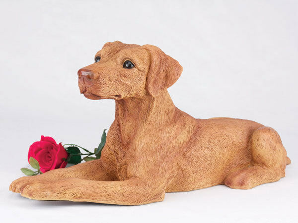 Large 238 Cubic Inches Red & Tan Doberman Pinscher Resin Urn, Ears Down
