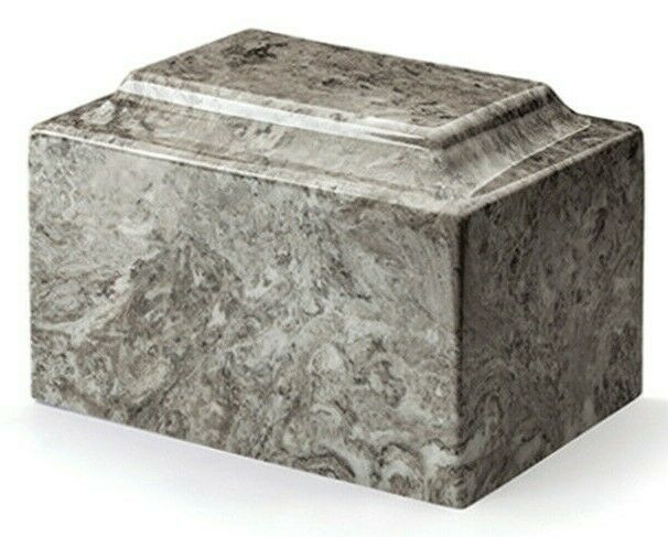 Classic Cultured Marble Gray 25 Cubic Inch Cremation Urn For Ashes, TSA Approved