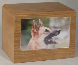 X-Large 145 Cubic Inches Oak Pet Photo Urn for Ashes with Engravable Nameplate