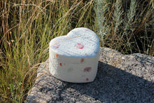Load image into Gallery viewer, Biodegradable, Eco-Friendly Floral Keepsake Heart Cremation Urn, 30 Cubic Inches