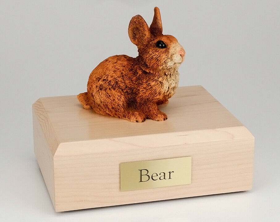 Rabbit Brown & White Figurine Pet Cremation Urn Avail 3 Different Color/4 Sizes