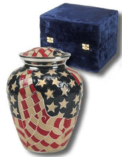 Load image into Gallery viewer, Patriotic American Flag Painted, Adult Brass Funeral Cremation Urn W. Velvet Box