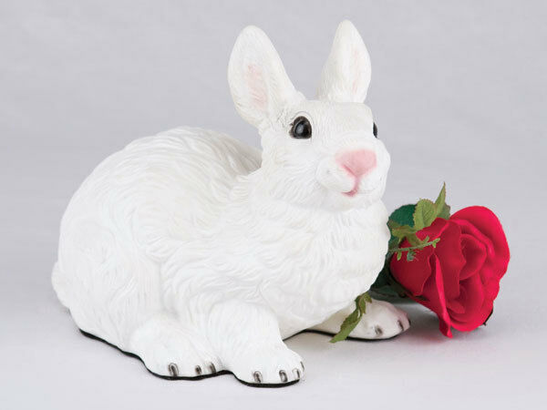 Small/Keepsake 58 Cubic Inches White Rabbit Resin Urn for Cremation Ashes