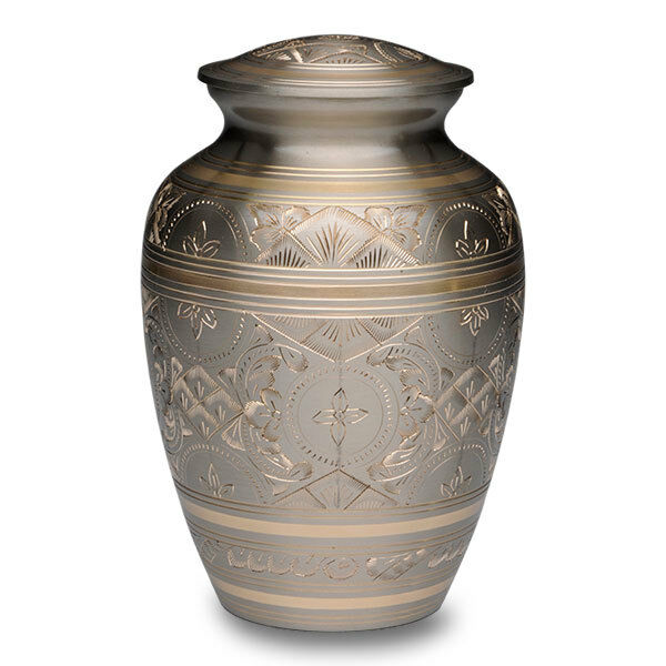 Large/Adult 100 Cubic Inch Platinum & Golden Brass Funeral Cremation Urn