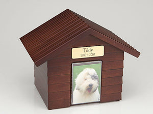 Large 120 Cubic Inches Walnut Doghouse Urn for Ashes with Engravable Nameplate