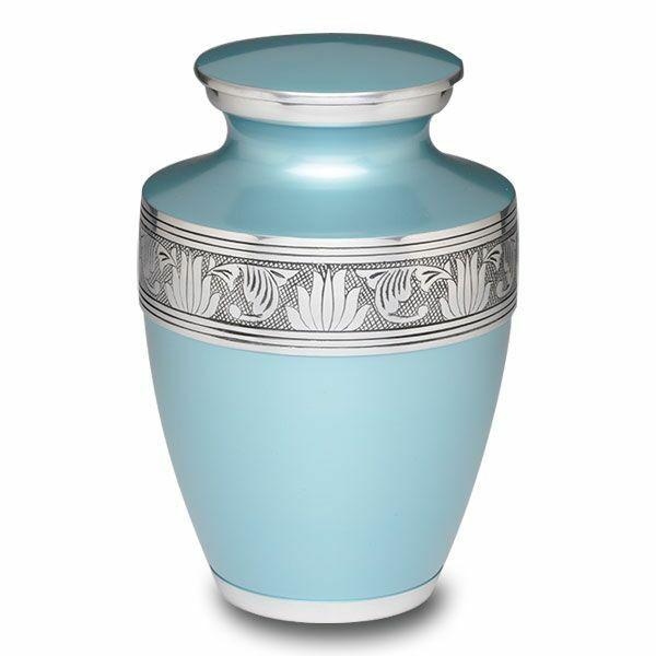 Large/Adult 200 Cubic Inch Teal Alloy Funeral Cremation Urn for Ashes