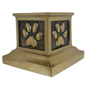 Small/Keepsake Cubic 39 Inch Roman Paws Bronze Funeral Cremation Urn for Ashes