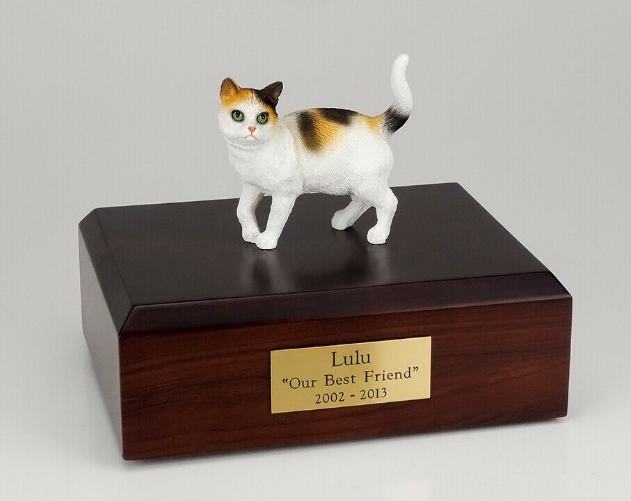 Cat Tri-Color Figurine Pet Cremation Urn Available 3 Different Colors & 4 Sizes
