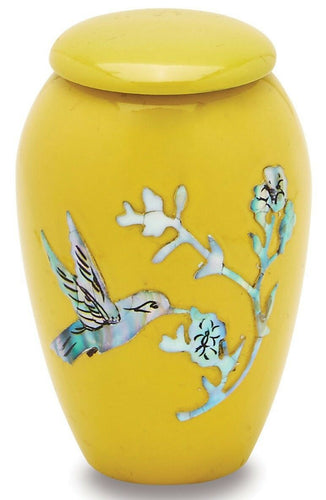 Yellow Hummingbird 3 Cubic Inches Small/Keepsake Funeral Cremation Urn for Ashes