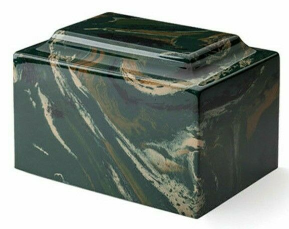 Small/Keepsake Marble Camo Black/Beige 5 Cubic Inches Cremation Urn TSA Approved