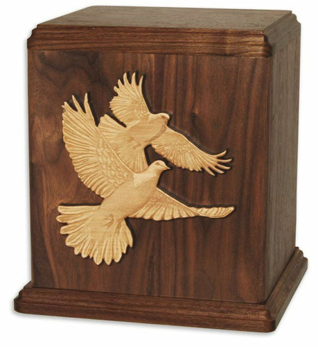 XLarge/Companion 400 Cubic Inch Brown Two Doves Wood Funeral Cremation Urn