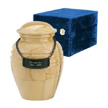 Load image into Gallery viewer, Set of Medium (44 cubic inch) & Keepsake(3 in) Marble Cremation Urns w/nameplate