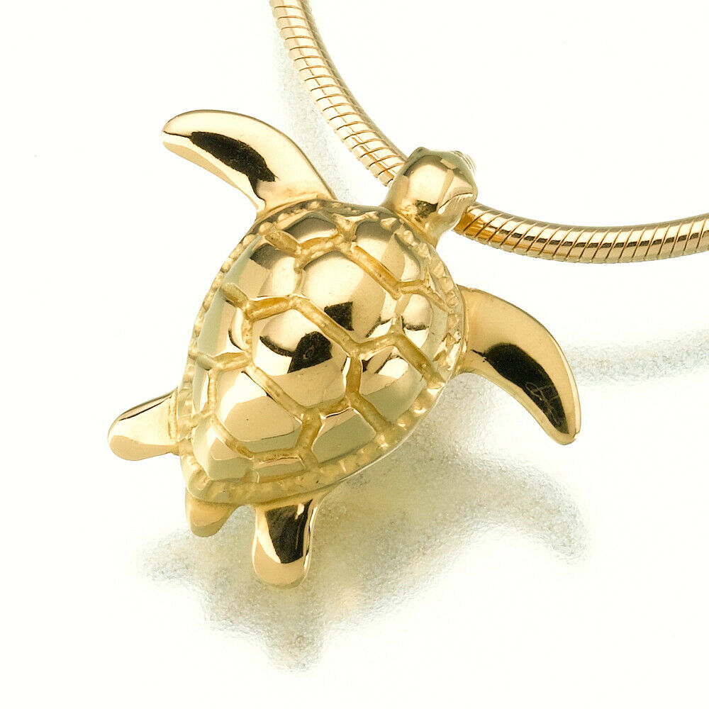 Gold Vermeil Plated Sea Turtle Pendant Funeral Cremation Jewelry Urn For Ashes