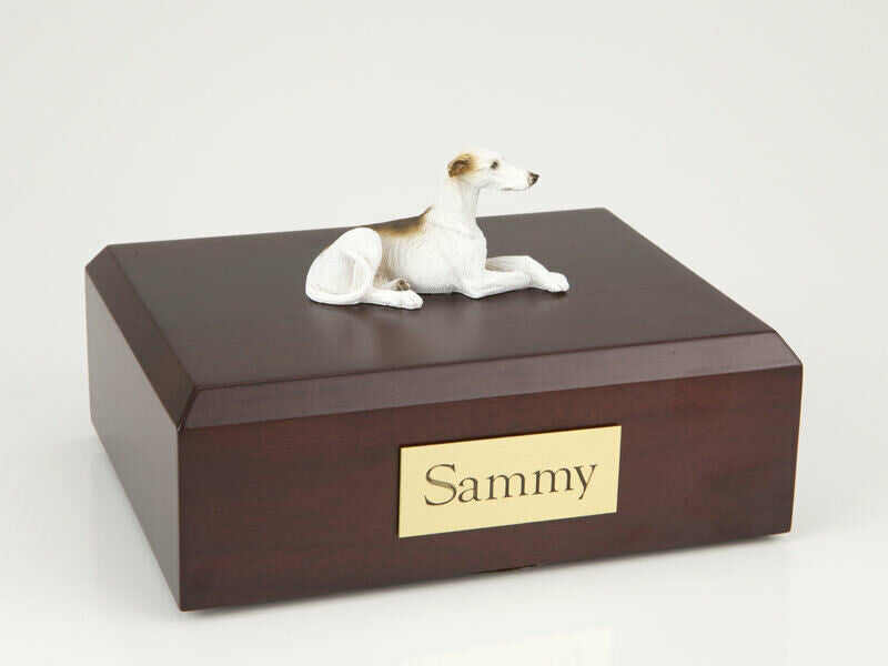 Greyhound, Brindle & White Pet Cremation Urn Available in 3 Diff Colors & 4 Size