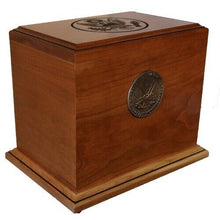Large/Adult 225 Cubic Inch Wood Cherry Patriot Military Funeral Cremation Urn