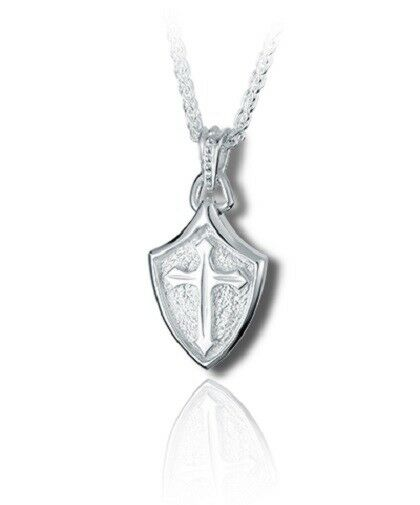 Sterling Silver Crusader Shield Funeral Cremation Urn Pendant for Ashes w/Chain