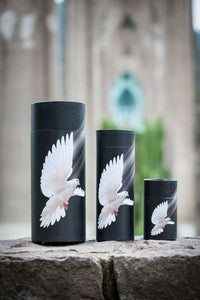 Set of Large, Med & Small Flying Dove Scattering Tube Cremation Urns for Ashes