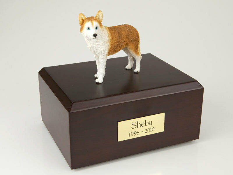 Husky Red w/Blue Eyes Stand Pet Cremation Urn Avail in 3 Diff Colors & 4 Sizes