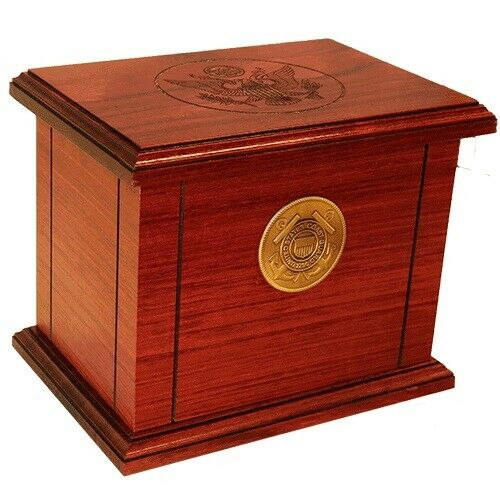 Large/Adult 225 Cubic Inch Wood Coast Guard Funeral Cremation Urn-Made in USA