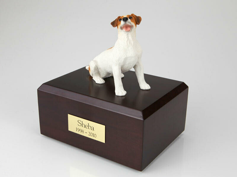 Jack Russell Terrier Brown Pet Cremation Urn Available 3 Diff. Colors & 4 Size